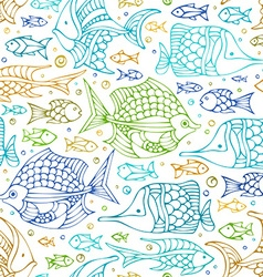 seamless colourful doodles fish pattern vector image