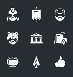 Set gladiator arena icons vector