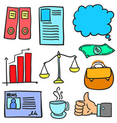 Set of business various doodles vector