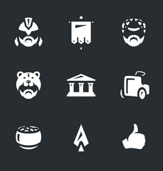 set of gladiator arena icons vector image