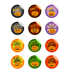 Set of jack-o-lantern pumpkins on halloween sticke vector