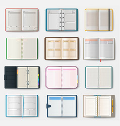 set of open notebooks with pages vector image