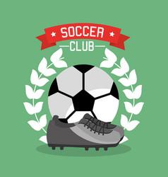 soccer club ball sneaker laurel championship vector image