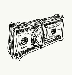 Stack dollar bills vector