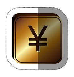sticker golden square with currency symbol of vector image
