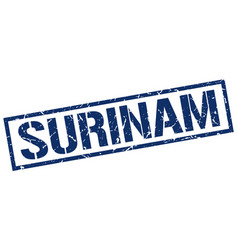 Surinam blue square stamp vector