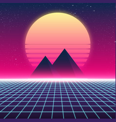 Synthwave retro design pyramids and sun vector