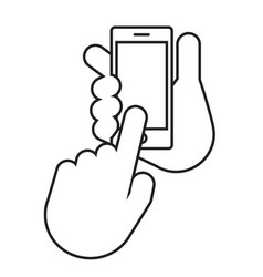 two hands the hand holds the smartphone vector image