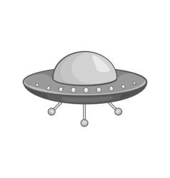 Ufo spaceship icon black monochrome style vector image