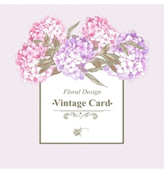 Vintage Greeting Card with Hydrangea and Peonies vector image