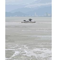 Watercraft on a background of gray sea vector
