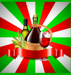 Wine and olive oil on italian flag background vector
