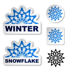 winter blue snowflake stickers vector image