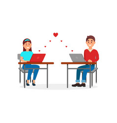 young man and woman in love chatting using laptop vector image