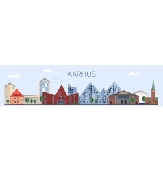 Aarhus landmarks and monuments in flat style vector image vector image