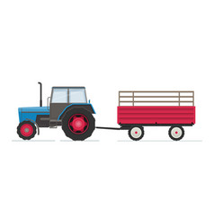 farm tractor with red trailer vector image vector image