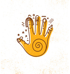 hand print design element vector image