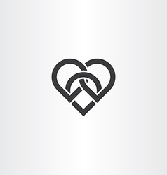 heart knot black icon design vector image vector image