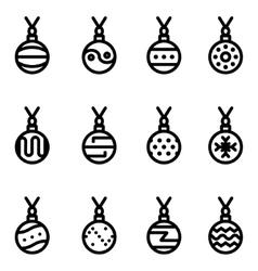 line christmas ball icons set vector image vector image