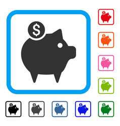 piggy bank framed icon vector image vector image