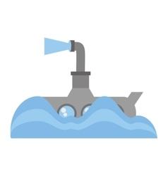 submarine periscope underwater ocean vector image