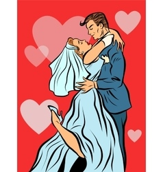 The bride and groom married wedding card vector image vector image