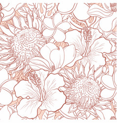 tropical flowers seamless pattern - white hand vector image