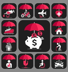 All insurance and umbrella symbols vector