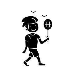 boy walking with candy icon vector image vector image