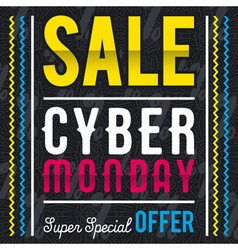Cyber Monday sale banner on black patterned backgr vector image vector image
