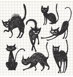 hand drawn black cats in different poses vector image vector image