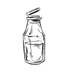 hand drawn graphic ink sketch of milk in vector image