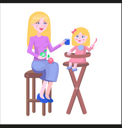 mother feeds daughter holds spoon on highchair vector image