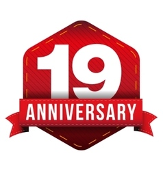 Nineteen year anniversary badge with red ribbon vector image vector image