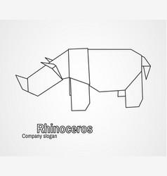 origami logo contour rhinoceros vector image vector image