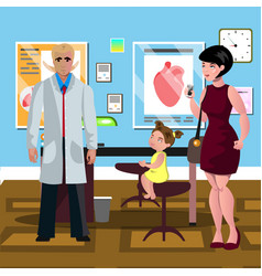 little girl at the doctor s reception vector image vector image