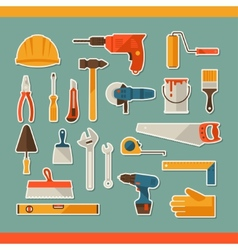 Repair and construction working tools sticker icon vector image vector image