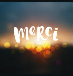 trendy hand lettering poster merci vector image vector image