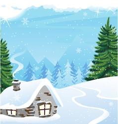 Winter mountain landscape vector image