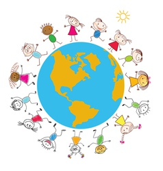 Children around the Earth vector image vector image