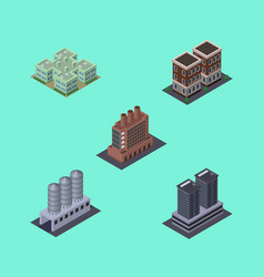 isometric architecture set of house industry vector image vector image