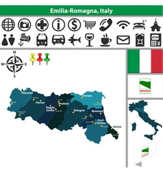 Map of Emilia Romagna vector image vector image
