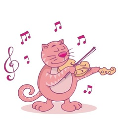 pink cat with violin vector image