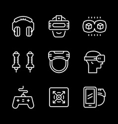 set line icons of virtual reality vector image vector image