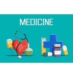 Syringe and medicine cross heart tablet vector image