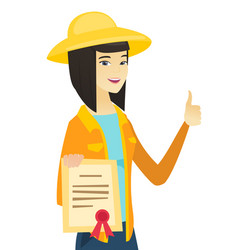 young asian farmer holding a certificate vector image