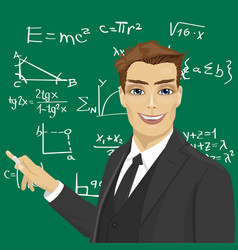 young male math teacher with piece of chalk vector image vector image