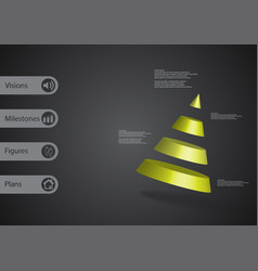 3d infographic template with cone divided to four vector image