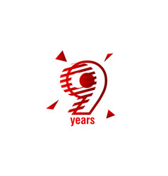 9 years anniversary celebration template design vector