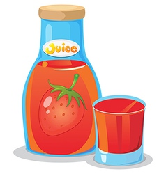 A bottle of strawberry juice vector image
